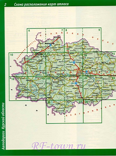 Карта Курской области.
